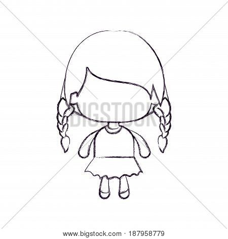 monochrome blurred silhouette of faceless little girl with braided hair medium height vector illustration