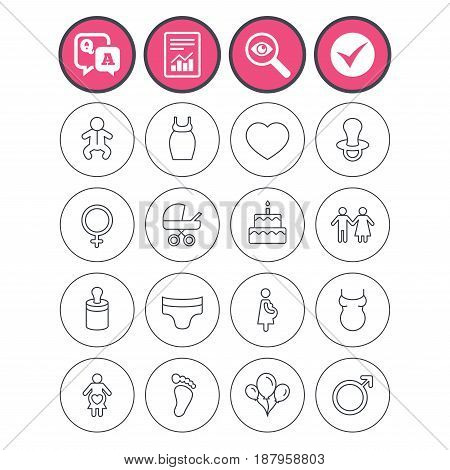 Question and answer, check tick and report signs. Baby and Maternity icons. Toddler, diapers and child footprint symbols. Heart, birthday cake and pacifier thin outline signs. Vector