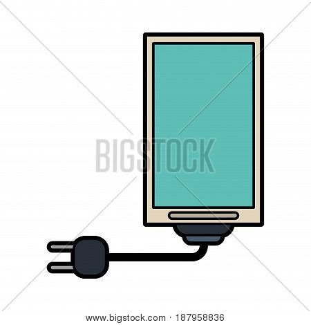 cellphone with cord and plug icon image vector illustration design