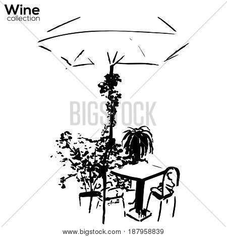 Vector Trees collection. Ink street cafe scene with plants