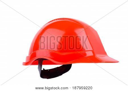 Orange Construction Helmet Isolated On White Background