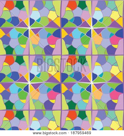 abstract mosaic seamless pattern. Vector. White background. For design and decorate backdrop. Endless texture. Ceramic tile fragments. Colorful broken tiles .