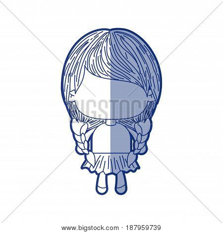 blue shading silhouette of faceless little girl with pigtails hair and braided vector illustration