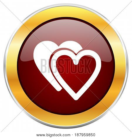 Love red web icon with golden border isolated on white background. Round glossy button.