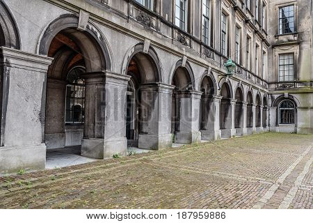 Hague Netherlands - August 7 2016: Inner court of Binnenhof. It is a complex of buildings in the city centre of The Hague. Includes the Office of the Prime Minister and House of Representatives.