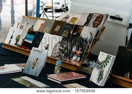 Hague Netherlands - August 7 2016: Book and antiques market stall in the street of The Hague