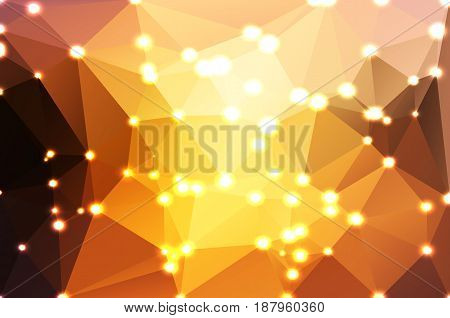 Yellow coral pink black abstract low poly geometric background with defocused lights