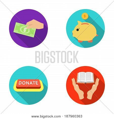 Hand with money for poshestvovaniya, a piggy bank for charity, a button with an inscription, a book for the blind in their hands. Charity and donation set collection icons in flat style vector symbol stock illustration .