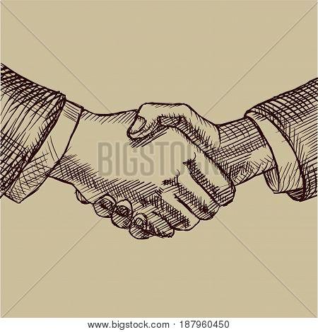 Business handshake. Vector illustration in sketch style.