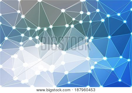 White blue shades abstract low poly geometric background with white triangle mesh and defocused lights.