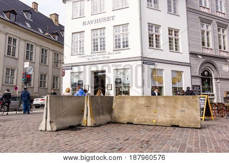 Concrete barriers protecting pedestrians from vehicle attack in Copenhagen - May 11 2017