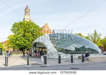 A sunny day at the metro station Triangeln Johannes church Malmo Sweden May 17 2017