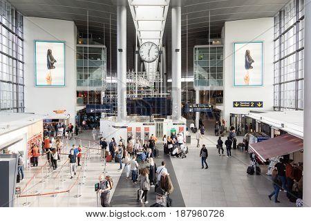 Travelers in Copenhagen airport terminal Copenhagen - May 17 2017
