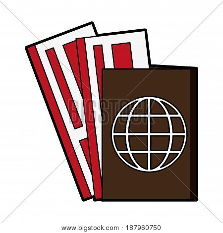 passport with boarding tickets icon image vector illustration design