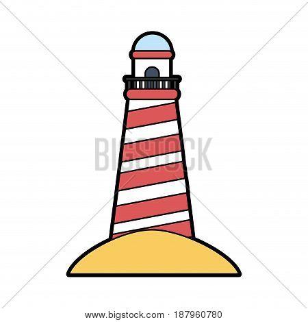 striped lighthouse icon image vector illustration design