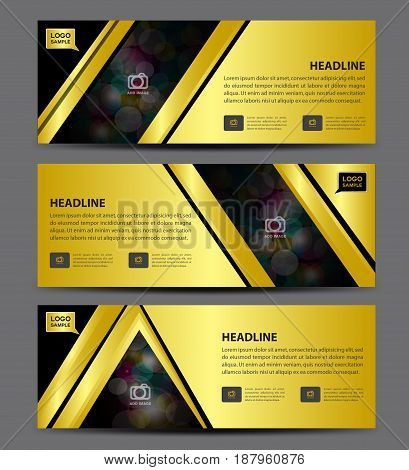 Gold Banner Template vector horizontal advertising display layout flyer design advertisement