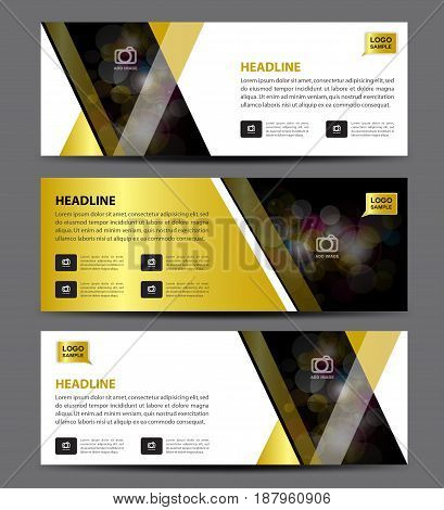 Gold Banner Template vector horizontal banner advertising display layout website