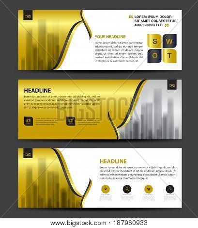 Gold Banner Template vector horizontal banner brochure flyer design advertisement layout