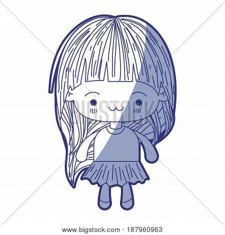 blue shading silhouette of kawaii little girl with long hair and facial expression exhausted vector illustration