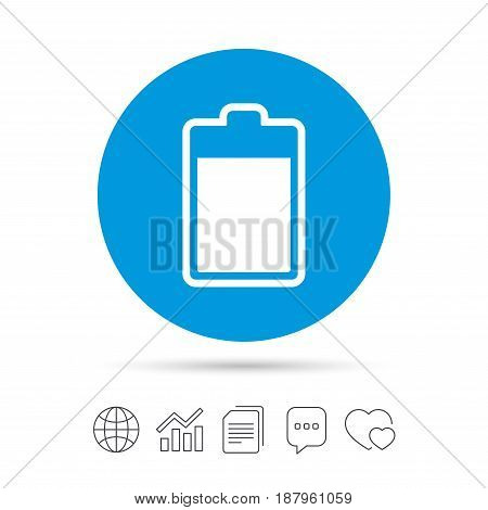 Battery level sign icon. Electricity symbol. Copy files, chat speech bubble and chart web icons. Vector