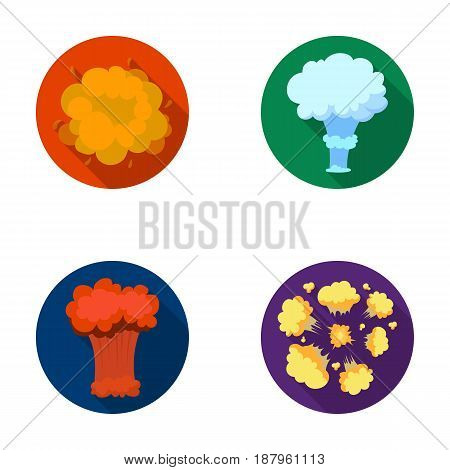 Flame, sparks, hydrogen fragments, atomic or gas explosion. Explosions set collection icons in flat style vector symbol stock illustration .