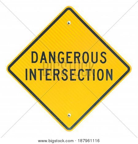 Dangerous Intersection road sign isolated on white