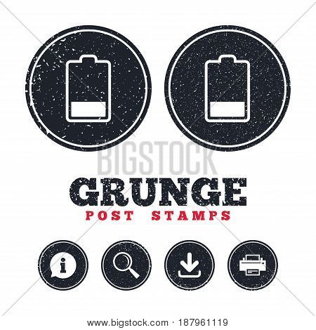 Grunge post stamps. Battery low level sign icon. Electricity symbol. Information, download and printer signs. Aged texture web buttons. Vector