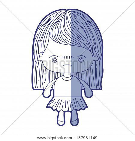 blue shading silhouette of kawaii little girl with straight hair and facial expression bored vector illustration