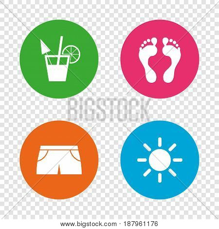 Beach holidays icons. Cocktail, human footprints and swimming trunks signs. Summer sun symbol. Round buttons on transparent background. Vector