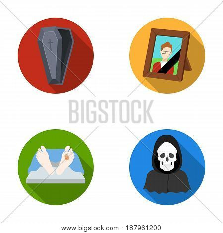 Coffin with a lid and a cross, a photograph of the deceased with a mourning ribbon, a corpse on the table with a tag in the morgue, death in a hood. Funeral ceremony set collection icons in flat style vector symbol stock illustration .