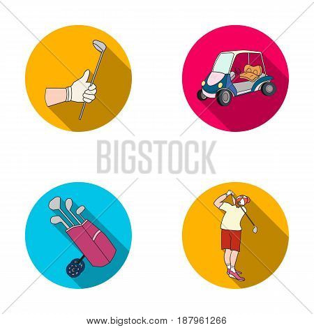 A gloved hand with a stick, a golf cart, a trolley bag with sticks in a bag, a man hammering with a stick. Golf Club set collection icons in flat style vector symbol stock illustration .