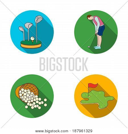 Stand for a golf club, muzhchin playing with a club, basket with balls, label with a flag on the golf course. Golf Club set collection icons in flat style vector symbol stock illustration .