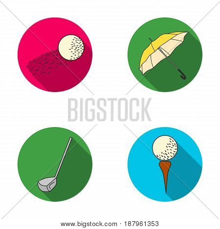 A flying ball, a yellow umbrella, a golf club, a ball on a stand. Golf Club set collection icons in flat style vector symbol stock illustration .