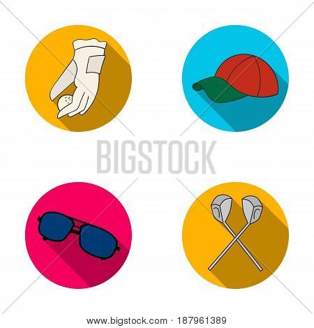 A glove for playing golf with a ball, a red cap, sunglasses, two clubs. Golf Club set collection icons in flat style vector symbol stock illustration .