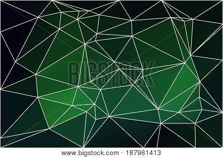 Glowing neon green abstract low poly geometric background with white triangle mesh.