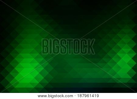 Glowing neon green abstract geometric background with rows of triangles