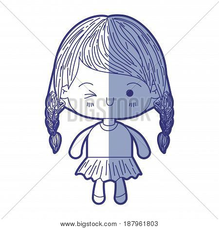blue shading silhouette of kawaii little girl with braided hair and facial expression wink eye vector illustration