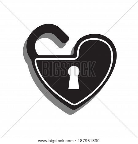 Key hole in the heart lock flat design vector