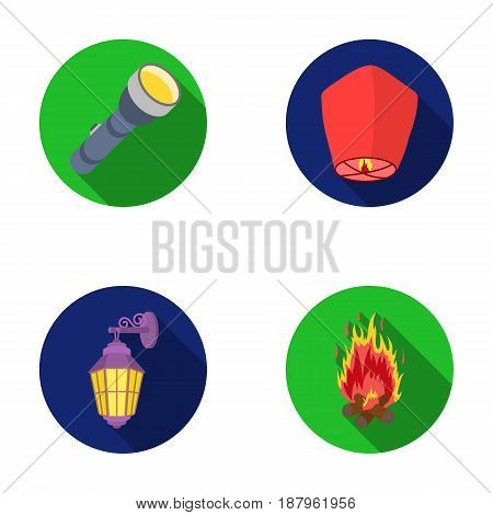 A flashlight, an air lantern, a lantern on the wall, a bonfire.Light source set collection icons in flat style vector symbol stock illustration .