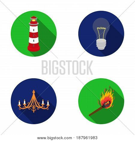 A lighthouse, an incandescent lamp, a chandelier with candles, a burning match.Light source set collection icons in flat style vector symbol stock illustration .