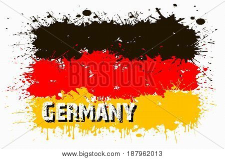 Flag Of Germany From Blots Of Paint