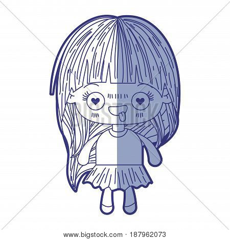 blue shading silhouette of kawaii little girl with long hair and facial expression enamored vector illustration