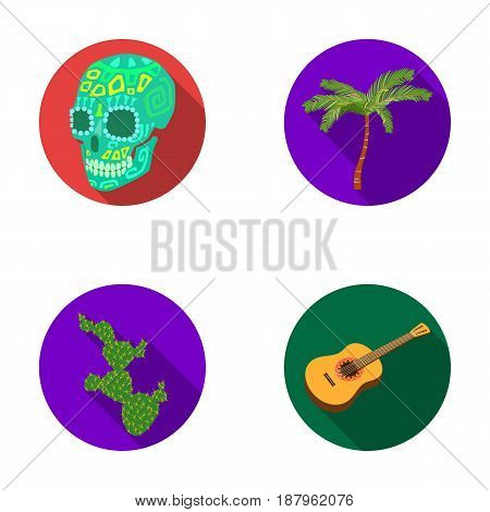 Green skull with a picture, a palm tree, a guitar, a national Mexican instrument, a cactus with spines. Mexico country set collection icons in flat style vector symbol stock illustration .