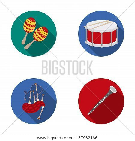 Maracas, drum, Scottish bagpipes, clarinet. Musical instruments set collection icons in flat style vector symbol stock illustration .