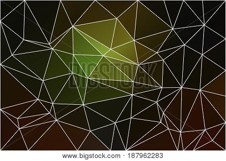 Green brown yellow black abstract low poly geometric background with white triangle mesh.