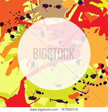 Red orange maroon artistic ink splashes vector background square. Greeting card or invitation template with semi-transparent round frame for text
