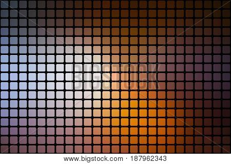 Brown orange white vector abstract mosaic background with rounded corners square tiles over black