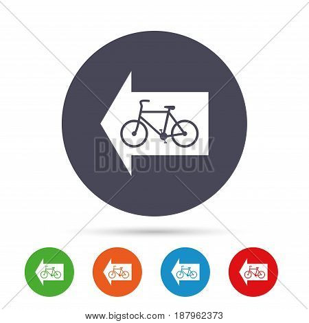Bicycle path trail sign icon. Cycle path. Left arrow symbol. Round colourful buttons with flat icons. Vector