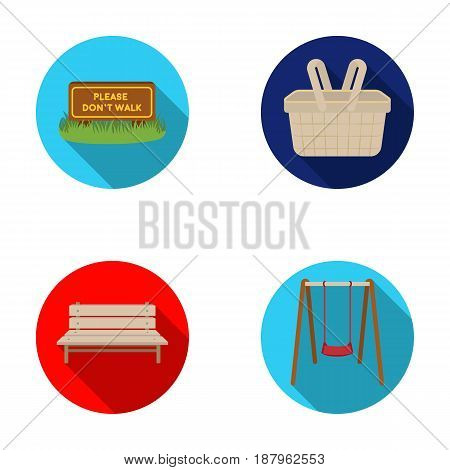 Lawn with a sign, a basket with food, a bench, a swing. Park set collection icons in flat style vector symbol stock illustration .