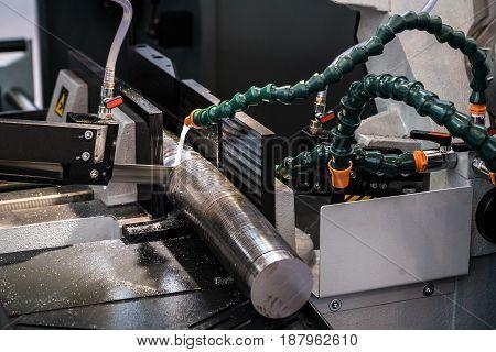 Metalworking equipment, bandsaw machine, closeup metal processing